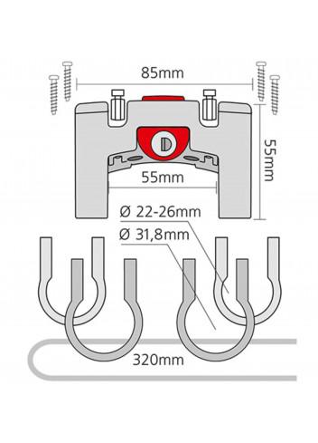 Support guidon universel à serrure - Klickfix - 22/32mm